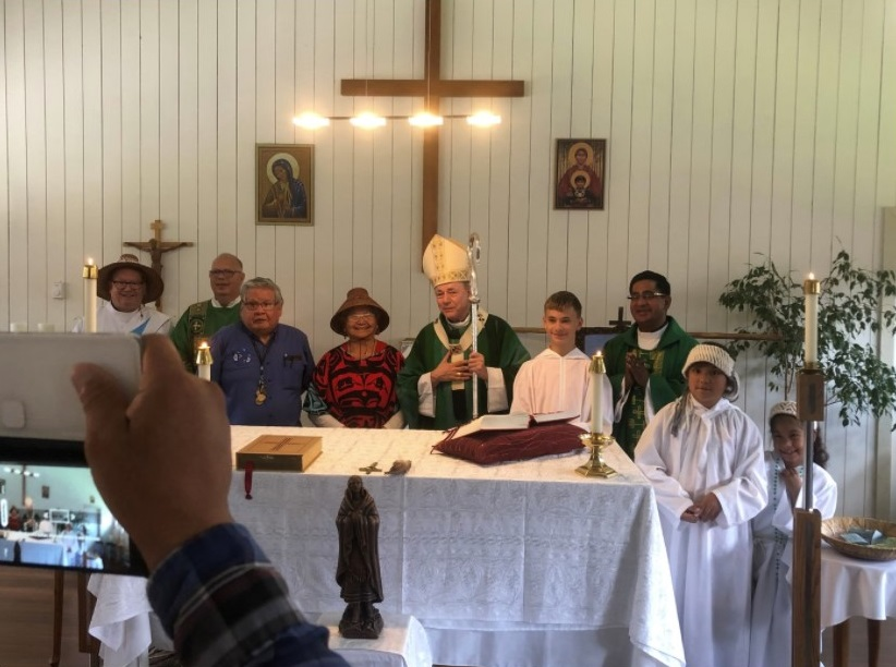 Archbishop Miller visiting a church in a First Nations community.