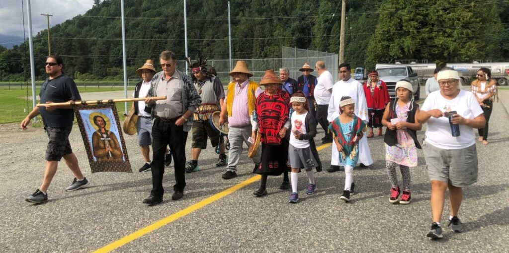 A walk in honour of Indigenous saint Kateri Tekakwitha in Agassiz. The Church needs to show First Nations people it came to serve, not take advantage of people, writes Deacon Jamie Meskas, who works with First Nations in the Archdiocese of Vancouver. (Contributed photos)