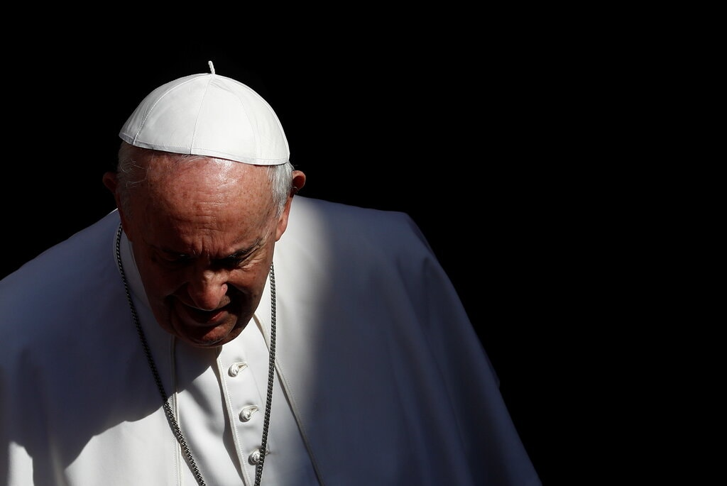 Pope Francis will meet with Indigenous leaders at the Vatican in December.Credit...Guglielmo Mangiapane/Reuters