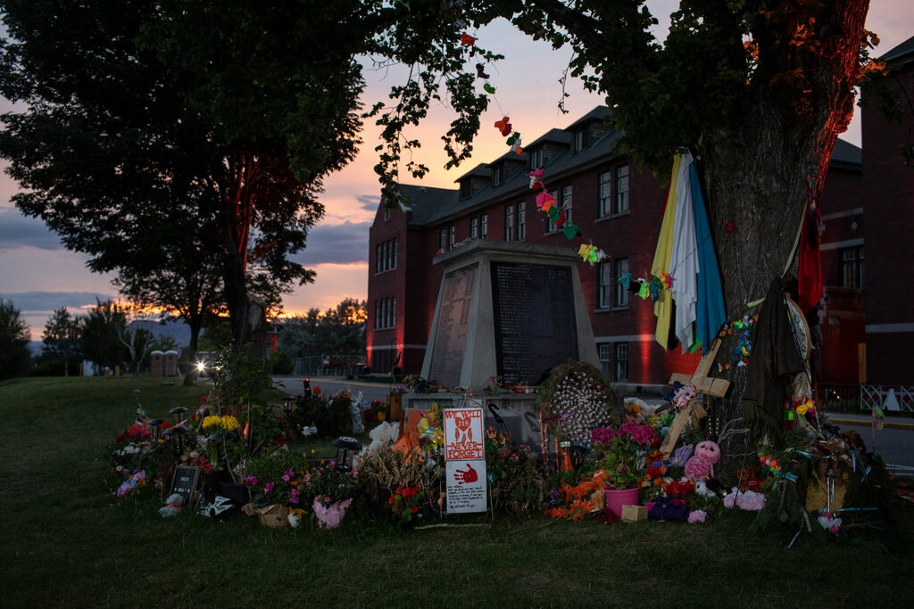 A memorial for the 215 children whose remains were discovered in May near the Kamloops Indian Residential School, in Kamloops, British Columbia.Credit...Amber Bracken for The New York Times