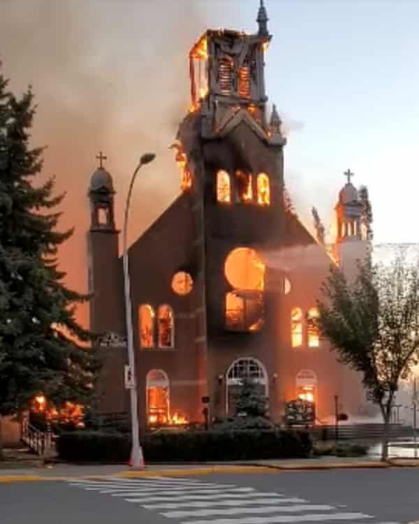 Fire destroys a Catholic church in Morinville, Alberta, this week. Photograph: Diane Burrel / Reuters