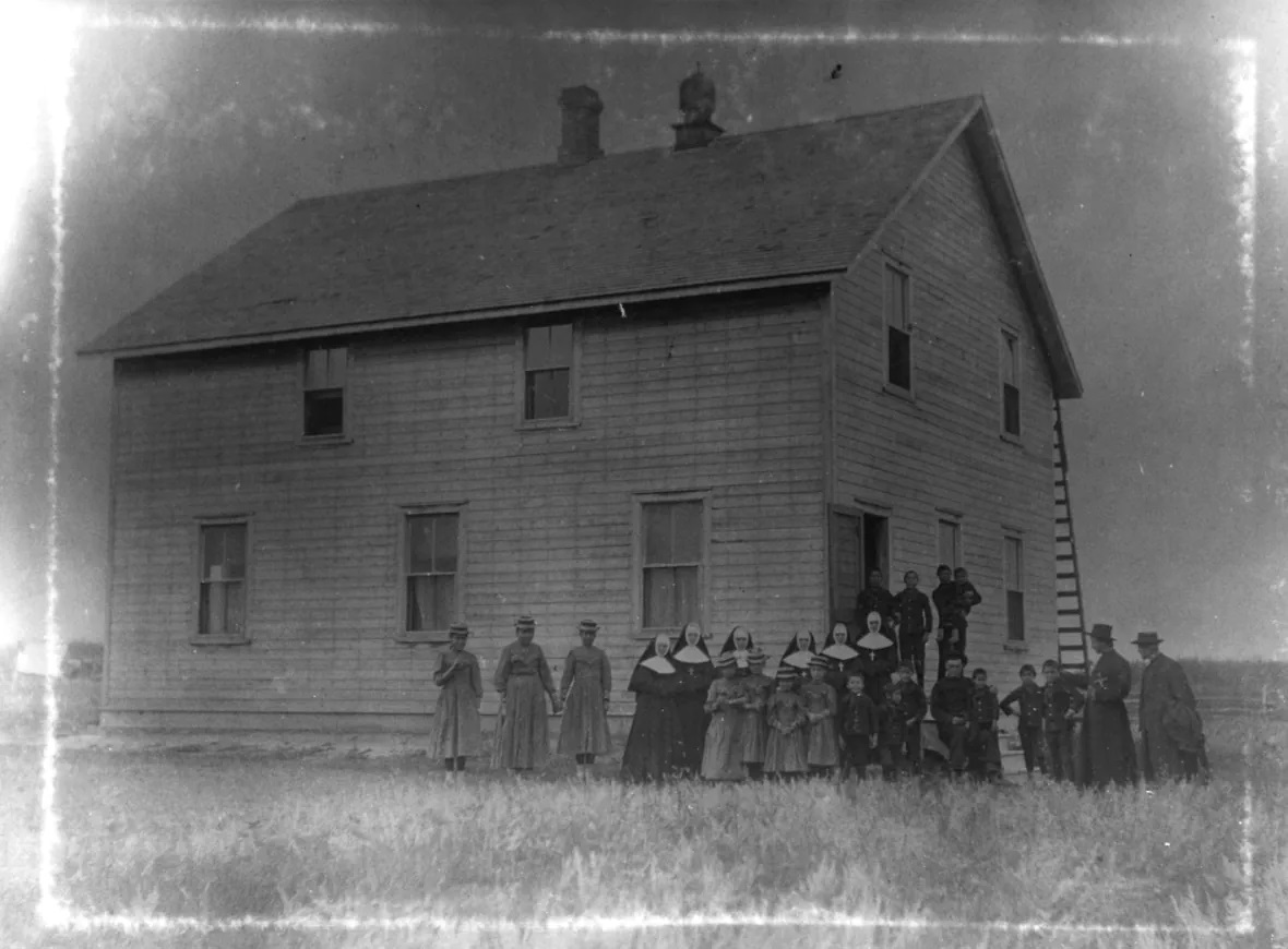 A photo of the original Thunderchild Residential School building. (Provincial Archives of Saskatchewan)