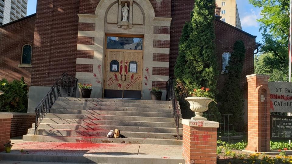 (A photo shared on social media shows graffiti scrawled on a Saskatoon church. (Facebook/Donna Heimbecker)