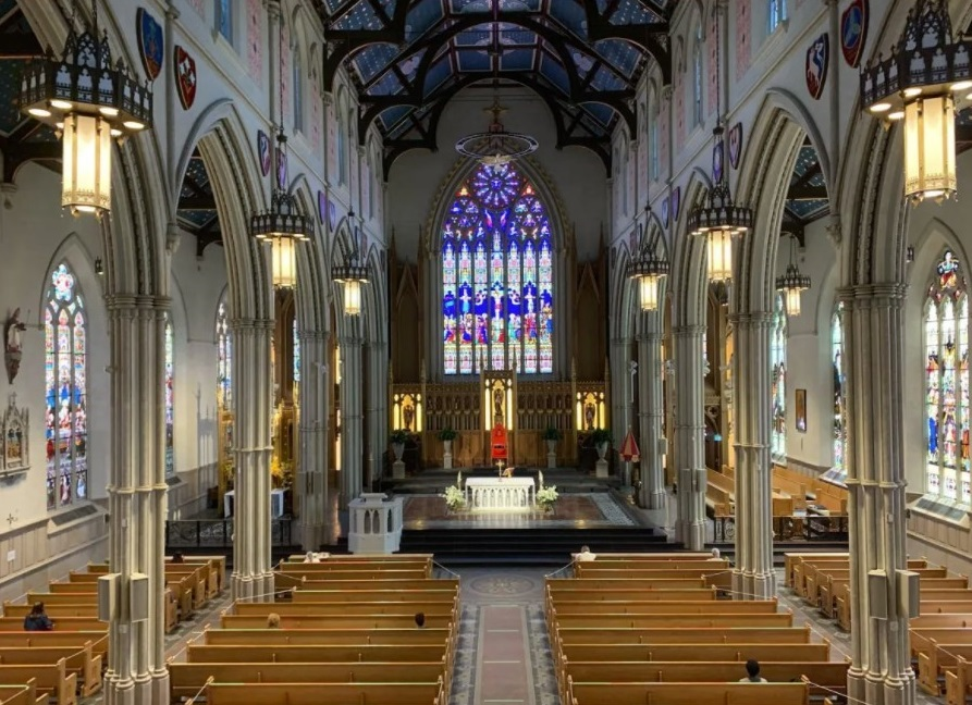 The $128-million renovation to St. Michael's Cathedral Basilica in Toronto was completed in September 2016, one year after Catholic Church groups told a judge that $3.9 million was all they could fundraise nationally for Canada's residential school survivors. (St. Michael's Cathedral Basilica / Facebook)