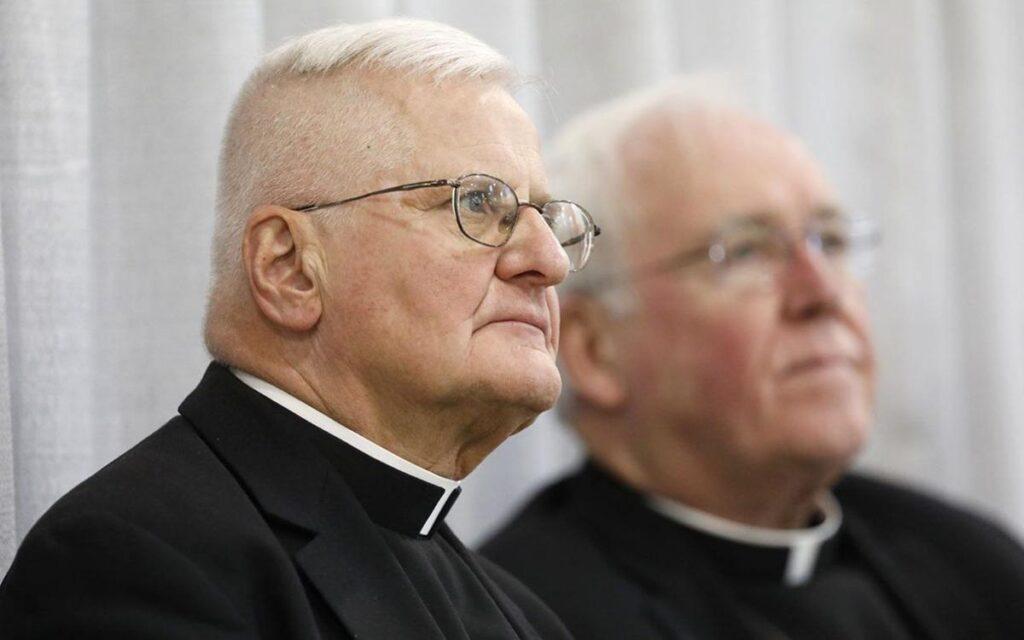 Auxiliary Bishop Edward Grosz, left, pictured in 2018 with retired Bishop Richard J. Malone.   Derek Gee