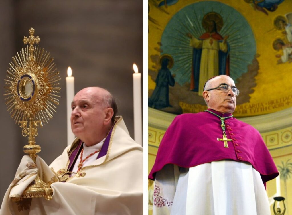LEFT: Cardinal Angelo Comastri was the vicar general of the Vatican, in charge of spiritual affairs inside the territory, at the time the alleged abuse is said to have taken place. (Franco Origlia / Getty Images) RIGHT: Diego Coletti, the bishop of Como from 2007 until 2016, conducted only a cursory investigation. (Stefano Cardini)