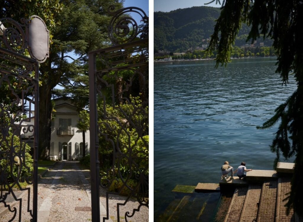 LEFT: Martinelli, though only 28, has been living at the Holy Cross Institute, a nursing home for elderly priests in Como. RIGHT: Kids play by Lake Como, an idyllic setting in a region with a priest shortage. (Chiara Goia for The Washington Post)