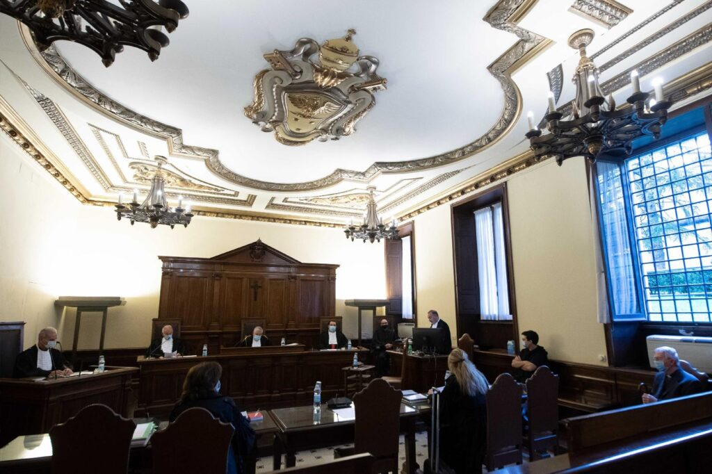 This Oct. 14, 2020, file photo shows the Vatican City State criminal court during the opening of the trial of Father Gabriele Martinelli and Msgr. Enrico Radice. Father Martinelli is accused of repeatedly sexually abusing a younger student at the Vatican's St. Pius X Pre-Seminary. At the trial, Vatican prosecutor Roberto Zanotti recommended the priest be sentenced to six years in prison. (CNS photo/Vatican Media)