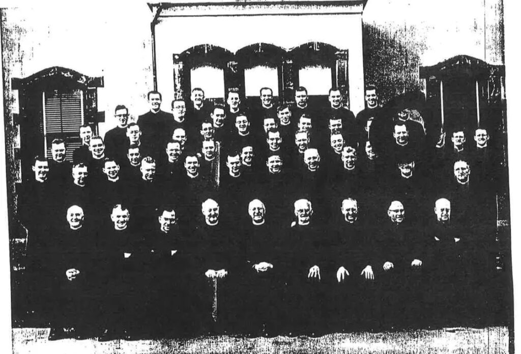 Brother Ronald Lasik (circled in black ink) with other members of the Irish Christian Brothers in the mid-1950s, around the time he was working at Mount Cashel orphanage in Canada. Provided