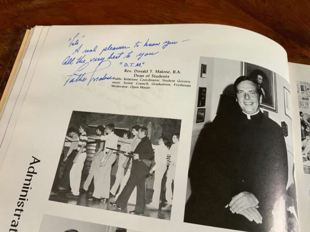 Father Donald Malone in the Stepinac yearbook.  Courtesy Jenny Grosvenor