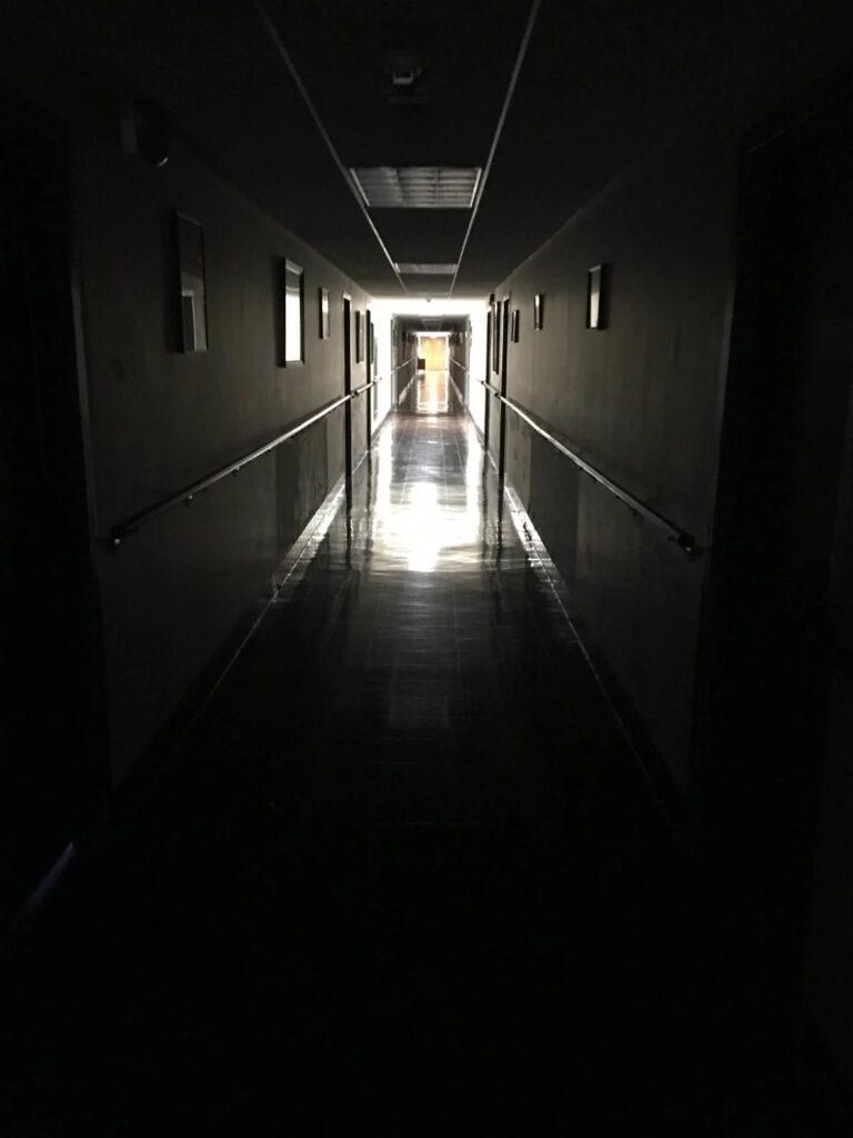 The dark hallways of the Stepinac priests' quarters.  Courtesy Jenny Grosvenor