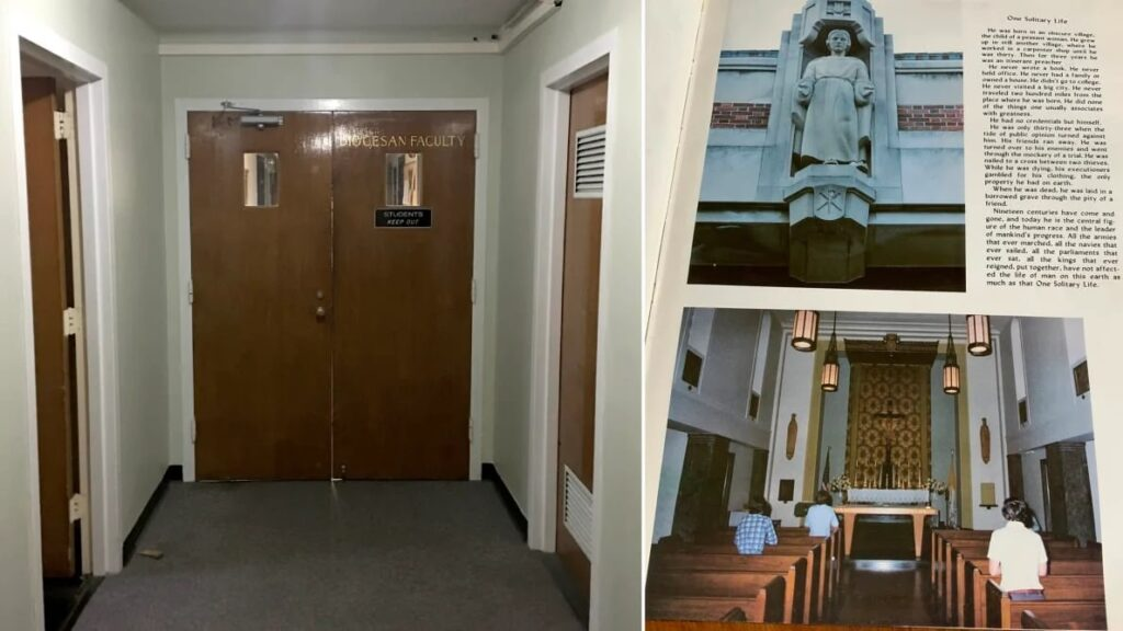 """Left: The doorway to the third-floor Stepinac priest quarters—""""Diocesan Faculty Only. Students Keep Out."""" Right: Inside Peter's Stepinac yearbook, the author finds the photo of the Jesus sculpture and chapel.  Courtesy Jenny Grosvenor"""