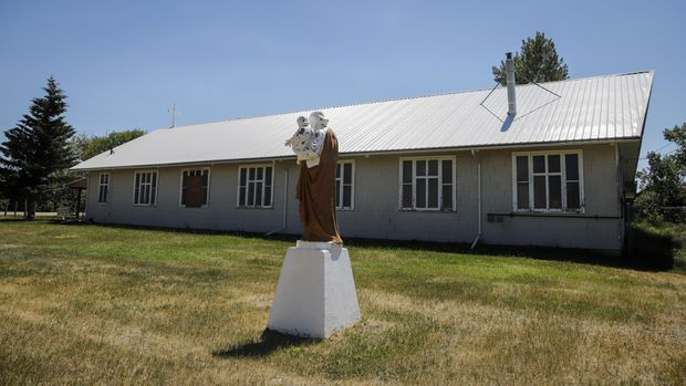 The Siksika First Nation Roman Catholic church is seen, east of Calgary near Cluny, Alta., on June 29.  JEFF MCINTOSH/THE CANADIAN PRESS