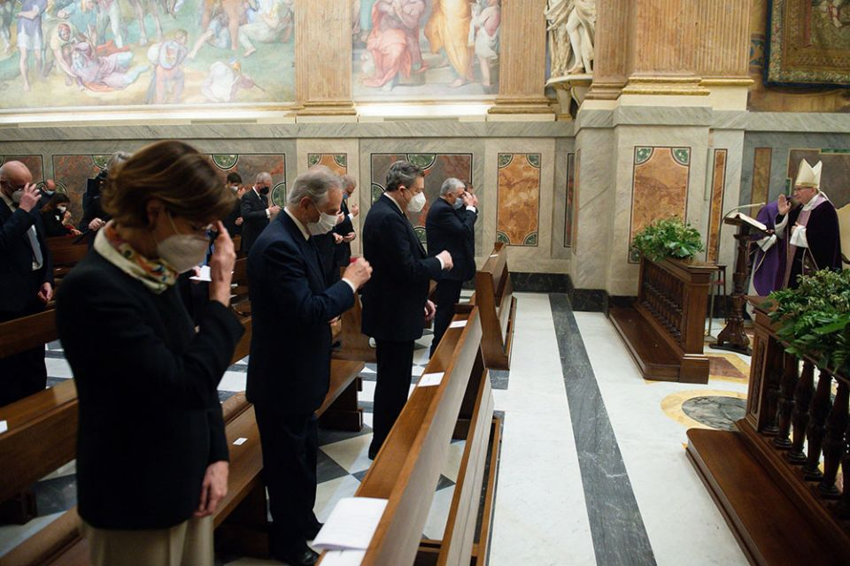 Cardinal Pietro Parolin, Vatican secretary of state, gives a blessing as he celebrates a Mass for the opening of the 92nd judicial year of the Vatican City State court, in the Pauline Chapel at the Vatican March 27. (CNS / Vatican Media)