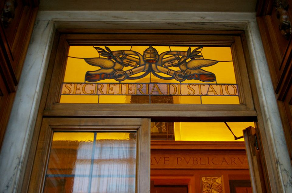 The door to the Vatican's office of the Secretariat of State (NCR photo / Joshua J. McElwee)