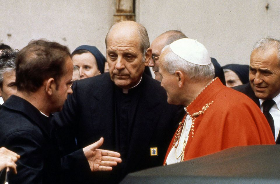 Archbishop Paul Marcinkus, center, is seen with Pope John Paul II in an undated file photo. (CNS / Catholic Press Photo)