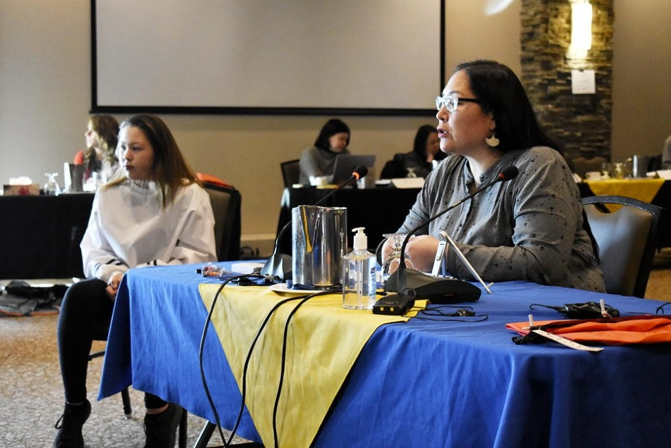 NTI president Aluki Kotierk speaks at a 2020 meeting in Iqaluit. In a letter to federal Justice Minister David Lametti, Kotierk asks the minister to take action on the file of Rev. Johannes Rivoire, a French Roman Catholic priest alleged to have abused Inuit children while working in Nunavut in the 1960s. (File photo)