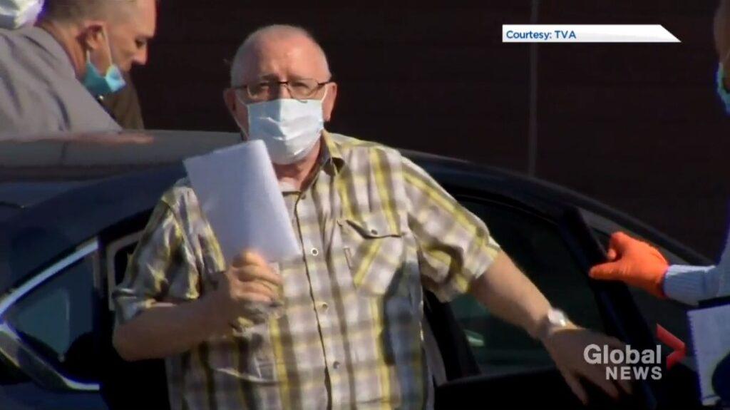 Jean Pilon arrives for sentencing.  Screen shot from Global News video