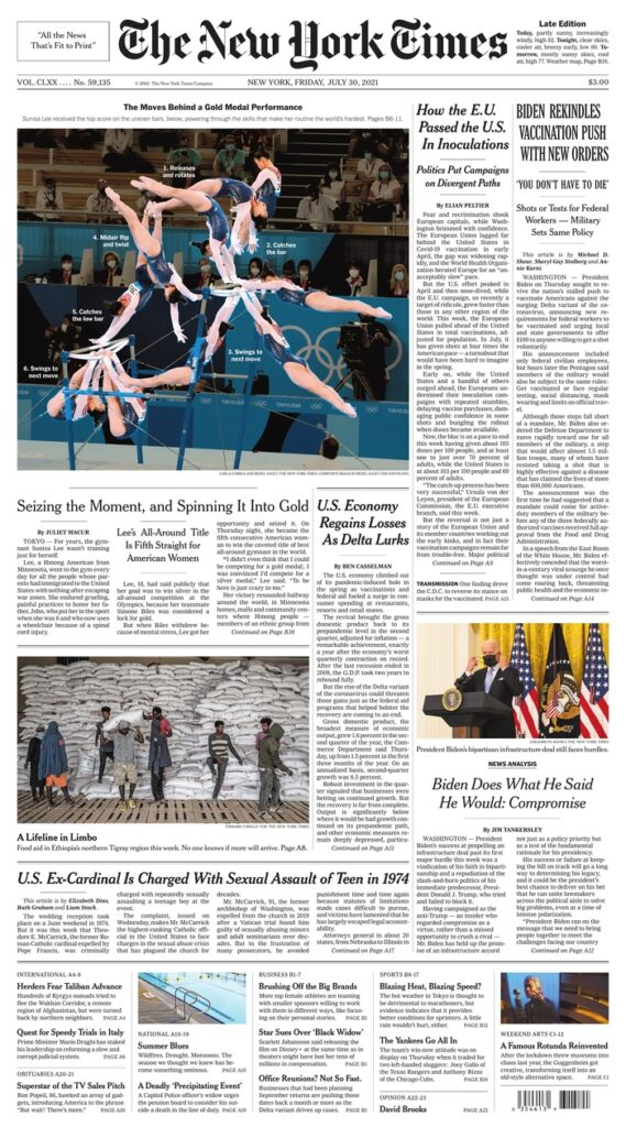 New York Times, July 30, 2021, Front Page