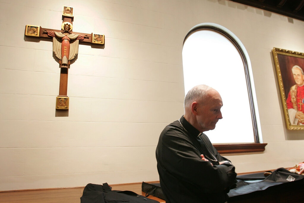 Cardinal Theodore McCarrick after a Mass for Pope John Paul II in 2005. Mr. McCarrick was later defrocked for sexual abuse.Credit...Stephen Crowley / The New York Times