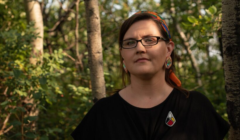 Professor Supernant's beaded pin was created by a Métis artist. Amber Bracken for The New York Times