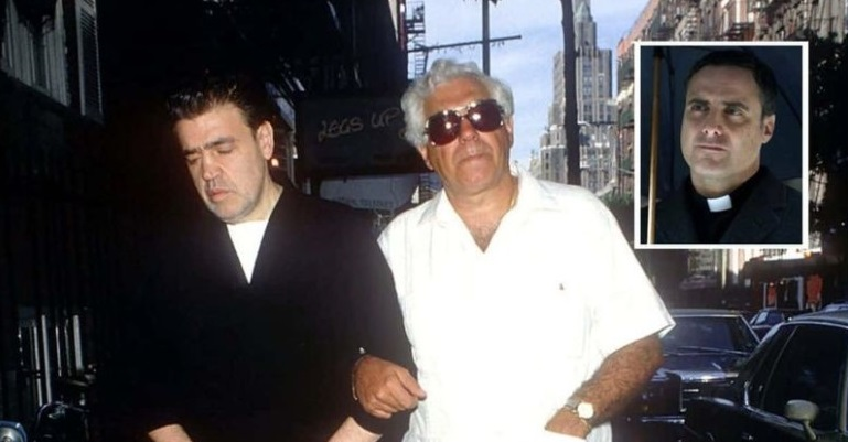 Father Louis Gigante (R) is the brother of late Vincente 'Chin' Gigante (L), the convicted mob boss of the Genovese crime family (Photo by Yvonne Hemsey / Getty Images) Inset - Dominic Fumusa as Father Gigante in 'Godfather of Harlem' (Disney+)