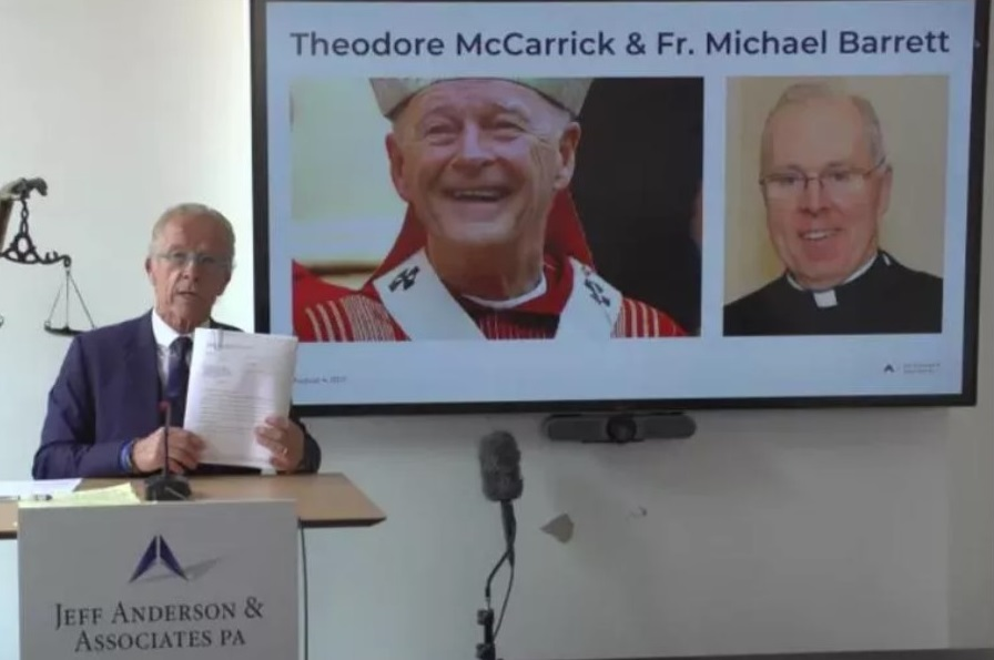 Above is a screenshot of the Jeff Anderson & Associates press conference [Showing Jeff Anderson, Theodore McCarrick, and Fr. Michael Barrett.]  (photo: Jeff Anderson & Associates via CNA)