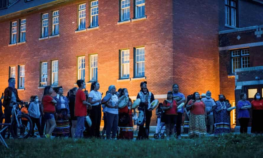 The Kamloops residential school, where the remains of 215 children were found in May. Photograph: Dennis Owen/Reuters