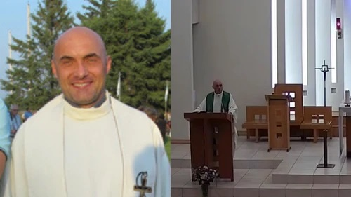 """REV. MARCIN MIRONIUK WAS FILMED ON JULY 18 CALLING NEWS OF UNMARKED GRAVES AT RESIDENTIAL SCHOOLS """"HUGE LIES."""" PHOTOS BY OUR LADY QUEEN OF POLAND PARISH WEBSITE (LEFT) AND YOUTUBE (RIGHT)"""