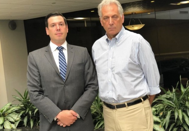 Attorney Bradley Rice, left, poses in 2019 with client James Manfredonia, who claims he was sexually abused by a Staten Island youth sports leader turned AAU coach more than 40 years ago. (Staten Island Advance / Kyle Lawson)