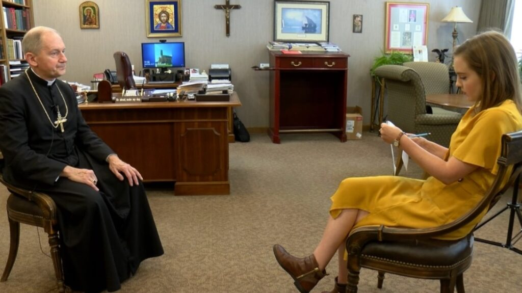 Bishop Thomas Paprocki sits down to interview with Target 3 investigators in his office at the Diocese of Springfield.