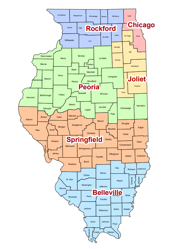 Map of the six dioceses in Illinois. Source: ILCatholic.org