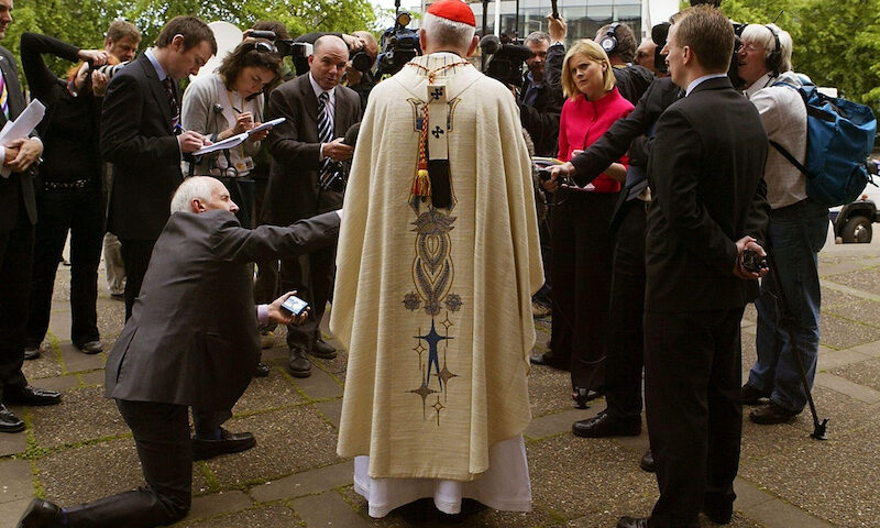 The subsequently disgraced Cardinal, Keith O'Brien, here speaks to reporters in 2007 after he said that Catholic politicians who defend abortion should not expect to remain Church members. David Moir/Reuters
