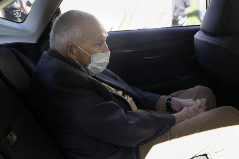 Former Cardinal Theodore McCarrick sits in a car as he leaves Dedham District Court after his arraignment, Friday, Sept. 3, 2021, in Dedham, Mass. McCarrick has pleaded not guilty to sexually assaulting a 16-year-old boy during a wedding reception in Massachusetts nearly 50 years ago. (AP Photo / Michael Dwyer)