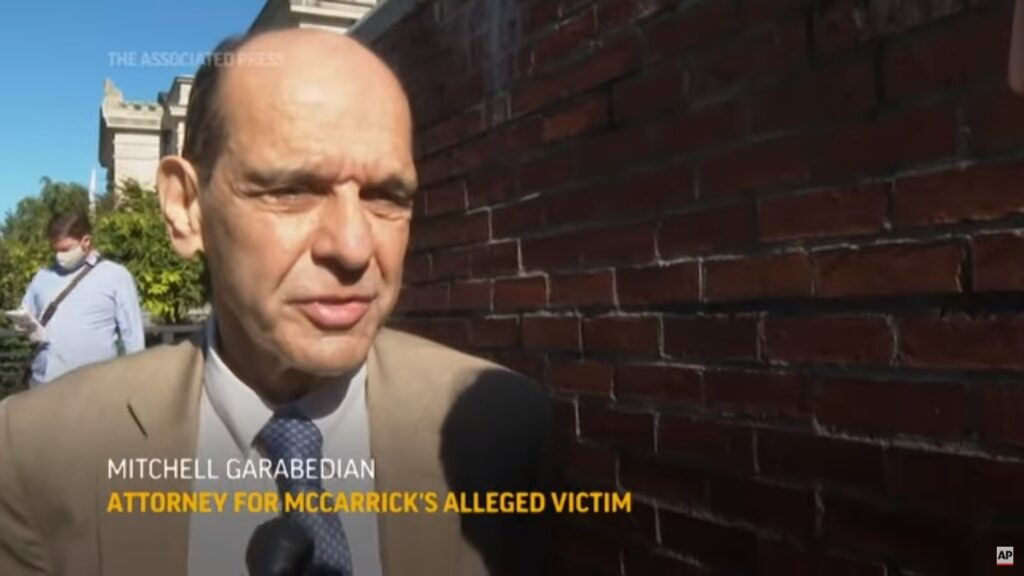 Mitchell Garabedian, attorney for McCarrick's alleged victim, speaks with reporters. Still from AP video.