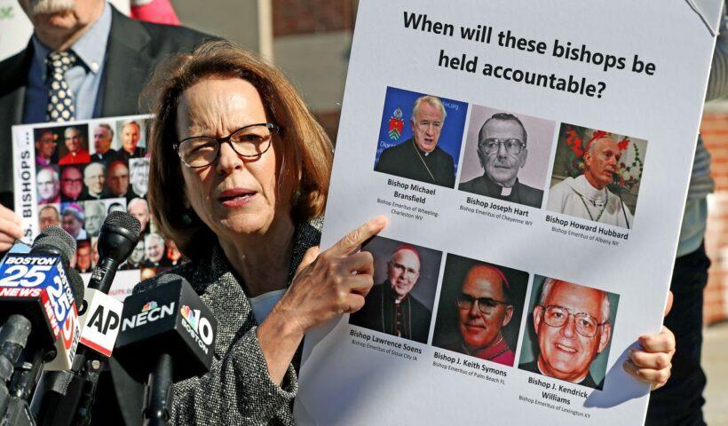 Anne Barrett Doyle, Co-Director of Bishop Accountability spoke on the Catholic abuse outside at Dedham District Court. David L. Ryan / Globe Staff