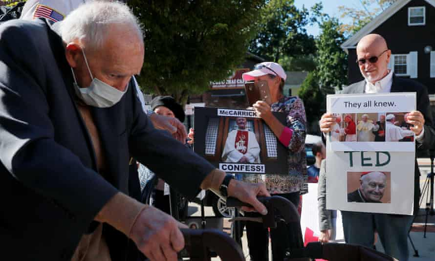 Former cardinal Theodore McCarrick arrives at court in Dedham, Massachusetts on 3 September 2021. Photograph: Brian Snyder/Reuters