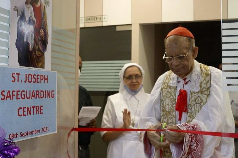 Cardinal Oswald Gracias, Archbishop of Bombay, inaugurating the St. Joseph Safeguarding Centre in Mumbai, India, on Sept. 8, 2021. (Photo: From the Facebook page of the Archdiocese of Bombay)