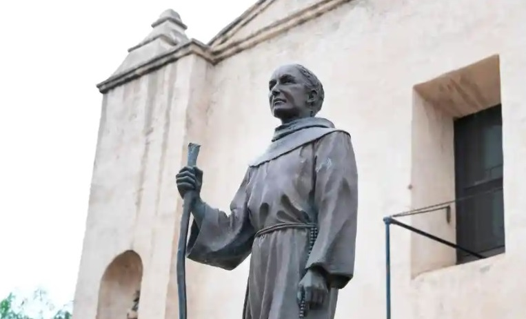 Father Junípero Serra is known as the founder of California's mission system, in which Native Americans were subjected to violence and forced labor. Photograph: Frederic J Brown/AFP / Getty Images