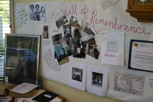 A memorial wall for former St. Joseph's residents (Colin Flanders (c) Seven Days)