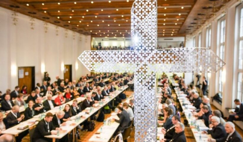 The second session of Germany's Synodal Assembly, delayed because of COVID-19, is scheduled for Sept. 30-Oct. 2. Participants are seen in this file photo at the Dominican monastery in Frankfurt, Germany, Jan. 31, 2020. (CNS / KNA / Harald Oppitz)