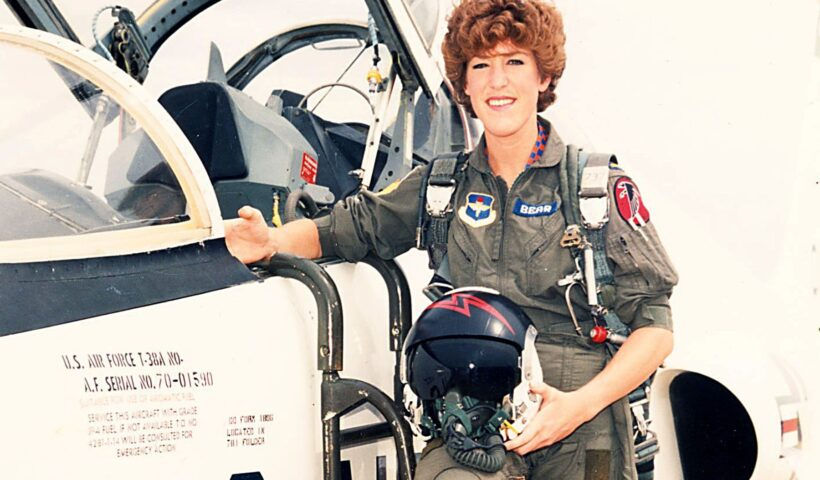 Patty Bear during pilot training. When a representative of the Air Force Academy spoke at her school, she realized she'd found her ticket to freedom. COURTESY OF PATTY BEAR