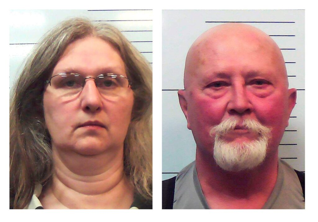 These undated booking photographs provided by the Missouri Attorney General's office show Stephanie and Boyd Householder, owners of a former reform school for girls in southwest Missouri, who were charged on Tuesday, March 9, 2021, with multiple counts alleging they abused and neglected residents at the facility for years. (Missouri Attorney General's office via AP)