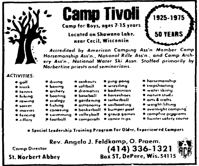 An advertisement in the now-defunct Chicago Daily News from 1975 that targeted families from the Chicago area. The point of contact in the ad: the Rev. Angelo Feldkamp, a Norbertine priest who in 2019 ended up on his religious order's list of clergy credibly accused of child sex abuse.