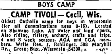 An advertisement in the Chicago Sun-Times in 1968 for Camp Tivoli. The listed contact was the Rev. Joseph Rohlinger, who decades later landed on the Norbertine order's list of sexually abusive clergy.