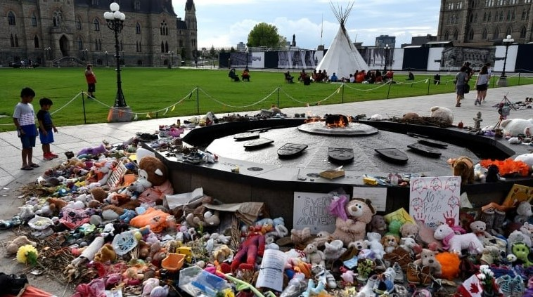 A memorial for children who died at residential schools is seen at the Centennial Flame on Parliament Hill in Ottawa. (Justin Tang / The Canadian Press)